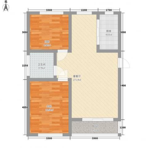 宅语原2室1厅1卫1厨86.00㎡户型图