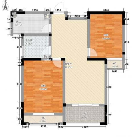 世纪华城二期铂晶湾2室1厅1卫1厨112.00㎡户型图