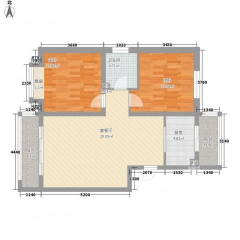 金川新城2室1厅1卫1厨101.00㎡户型图