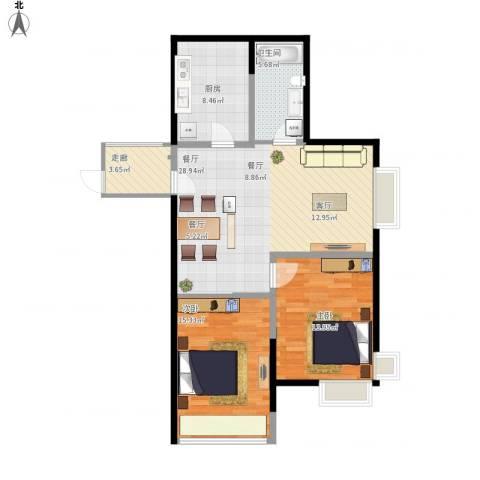 蜜橙2室1厅1卫1厨105.00㎡户型图