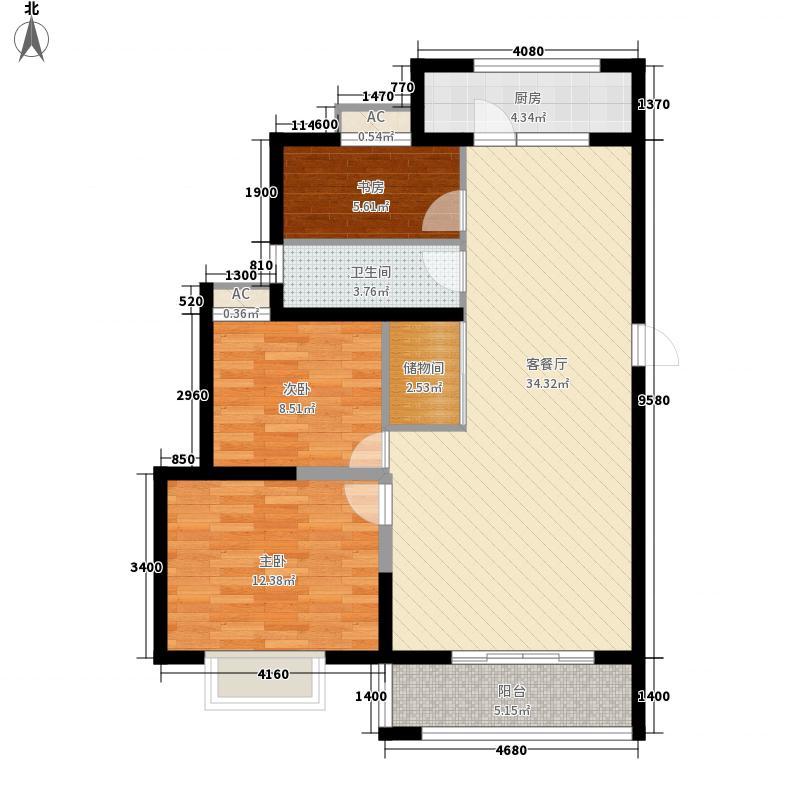 博奥东苑111.43㎡一期2号、3号楼标准层B-4户型3室2厅1卫1厨