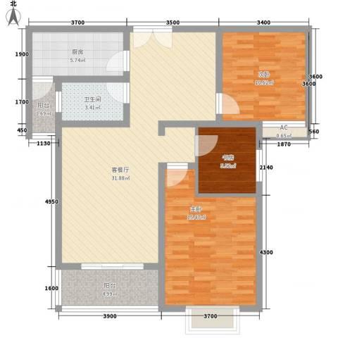 东明家园3室1厅1卫1厨116.00㎡户型图