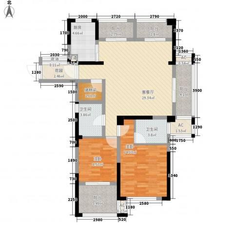 中港翡翠城2室1厅2卫1厨130.00㎡户型图