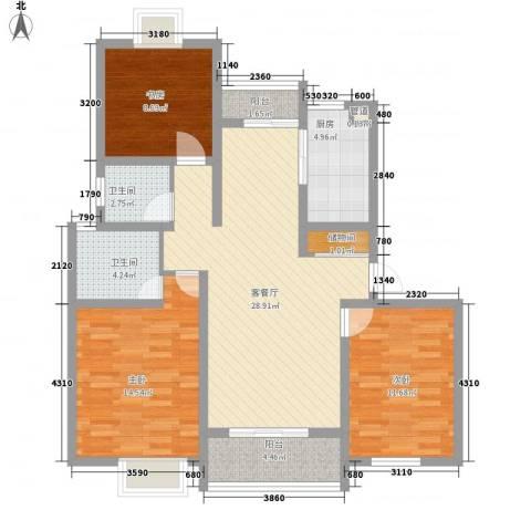 翠微品墅3室1厅2卫1厨121.00㎡户型图