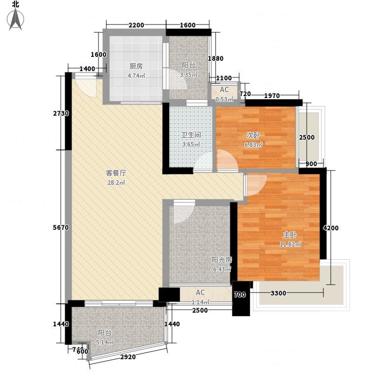 雅居乐御景名门御景名门610栋0105单位户型2室2厅1卫1厨