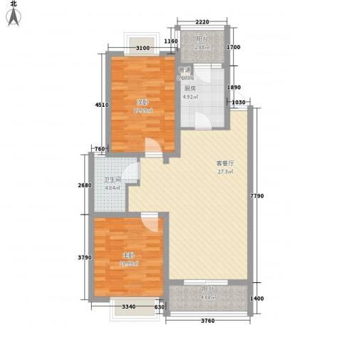 翠微品墅2室1厅1卫1厨85.00㎡户型图
