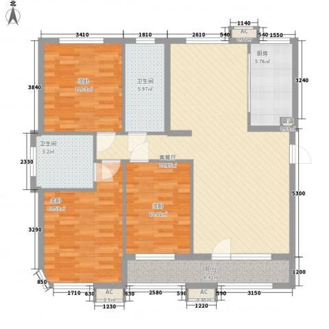 亚细亚度假村3室1厅2卫1厨136.00㎡户型图