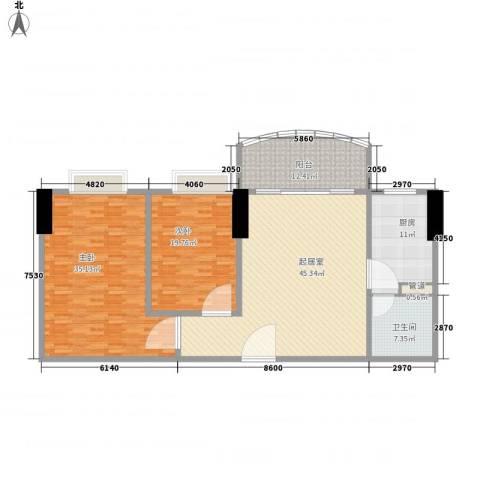 富力半岛花园2室0厅1卫1厨185.00㎡户型图