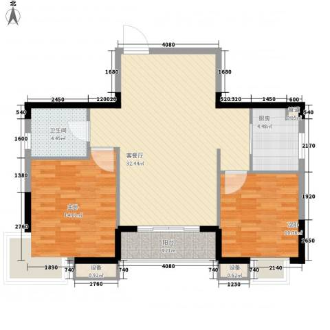 莲花E区2室1厅1卫1厨100.00㎡户型图