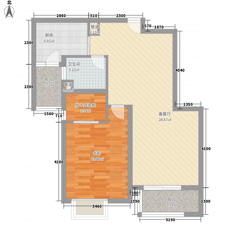 瑞虹新城铭庭85.76㎡1号楼-02单元-定制选择3户型1室2厅1卫1厨
