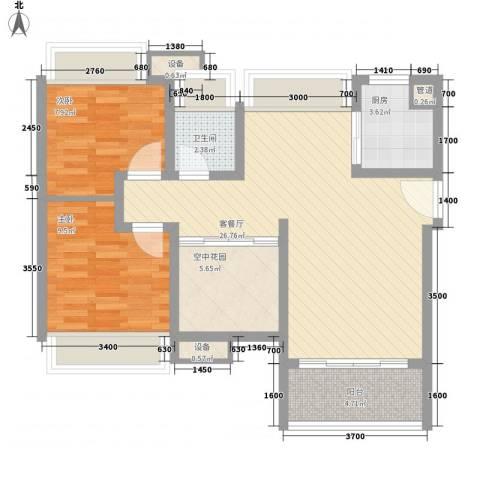 富通天邑湾2室1厅1卫1厨83.00㎡户型图