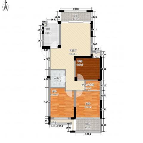 中港翡翠城3室1厅1卫1厨110.00㎡户型图
