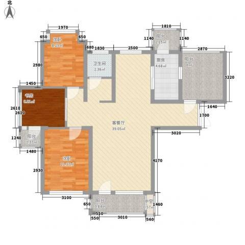 连大文润金宸3室1厅1卫1厨126.00㎡户型图