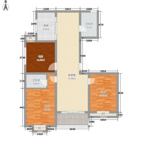 景盛花园3室0厅2卫1厨96.91㎡户型图