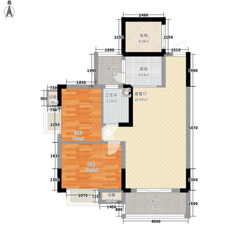 粤宇・碧水湾78.41㎡二期8栋2-11层标准层03户型2室2厅1卫1厨