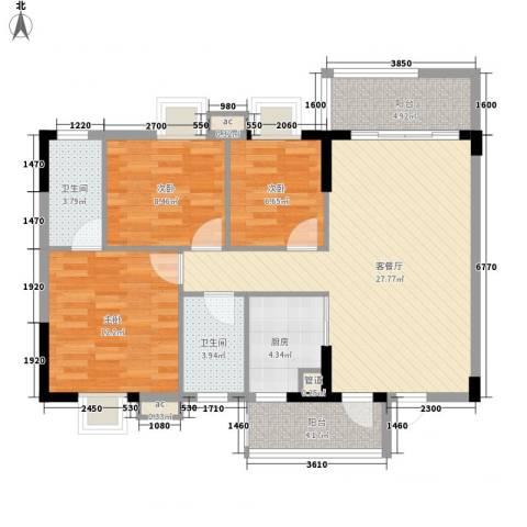 银丰花园3室1厅2卫1厨111.00㎡户型图