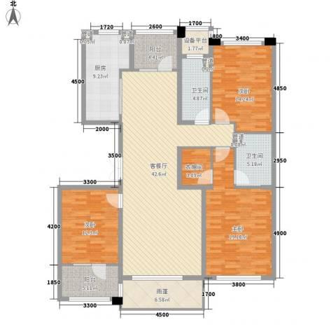 肯彤国际3室1厅2卫1厨157.00㎡户型图
