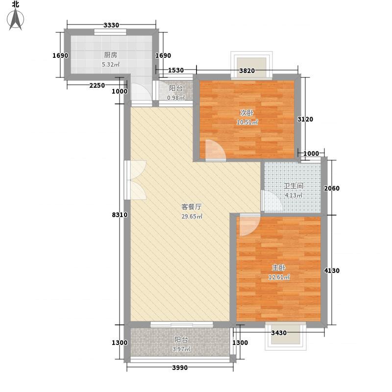 瀛华苑96.00㎡瀛华苑2室2厅1卫1厨户型2室2厅1卫1厨