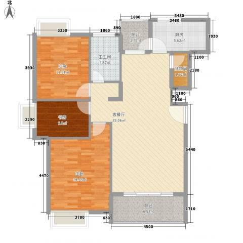莲花E区3室1厅1卫1厨128.00㎡户型图
