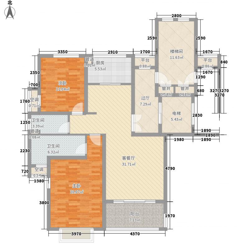 雅景公寓167.67㎡户型2室2厅2卫