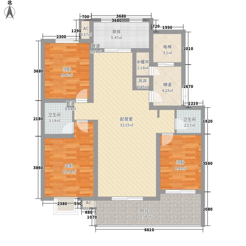 枫景华庭136.50㎡F户型3室2厅2卫1厨
