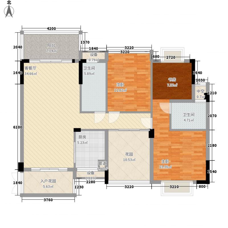 帕佳图・尚品128.00㎡10栋之二、11栋之二标准层01户型4室2厅2卫1厨
