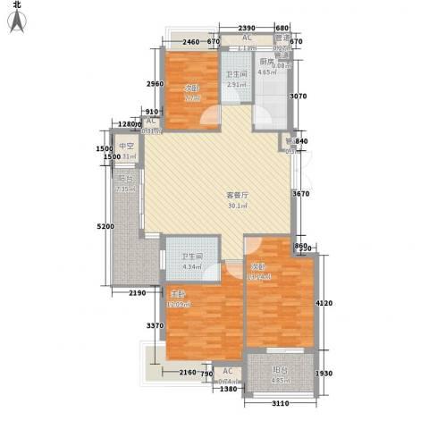 西山汇景3室1厅2卫1厨130.00㎡户型图