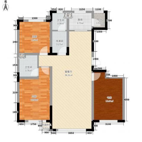 中天北湾新城3室1厅2卫1厨125.00㎡户型图