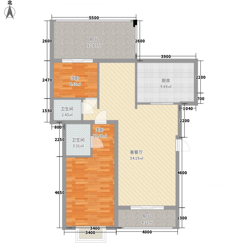 方鼎华庭93.05㎡C5户型1栋04+05房、06+07房户型3室2厅2卫