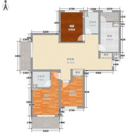 枫景华庭3室0厅2卫1厨124.00㎡户型图