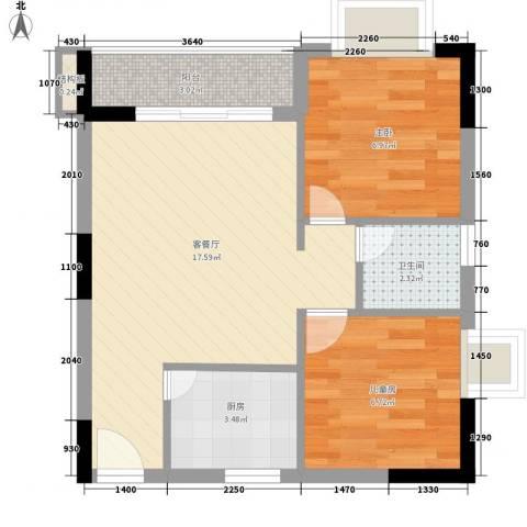 苹果园2室1厅1卫1厨58.00㎡户型图