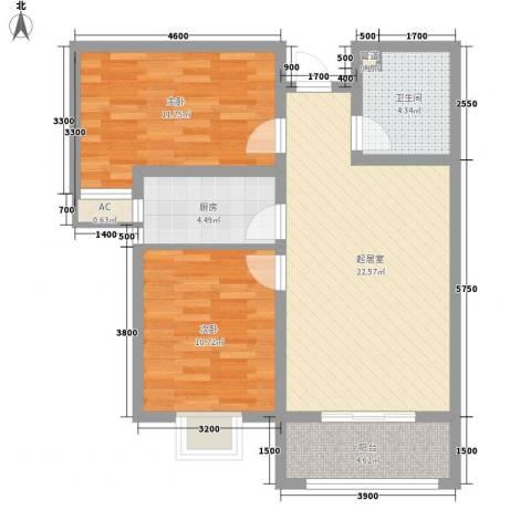 枫景华庭2室0厅1卫1厨86.00㎡户型图