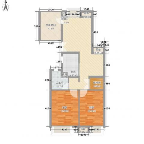莲花E区2室1厅1卫1厨90.00㎡户型图