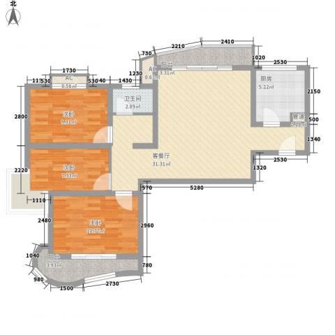 武夷绿洲3室1厅1卫1厨110.00㎡户型图