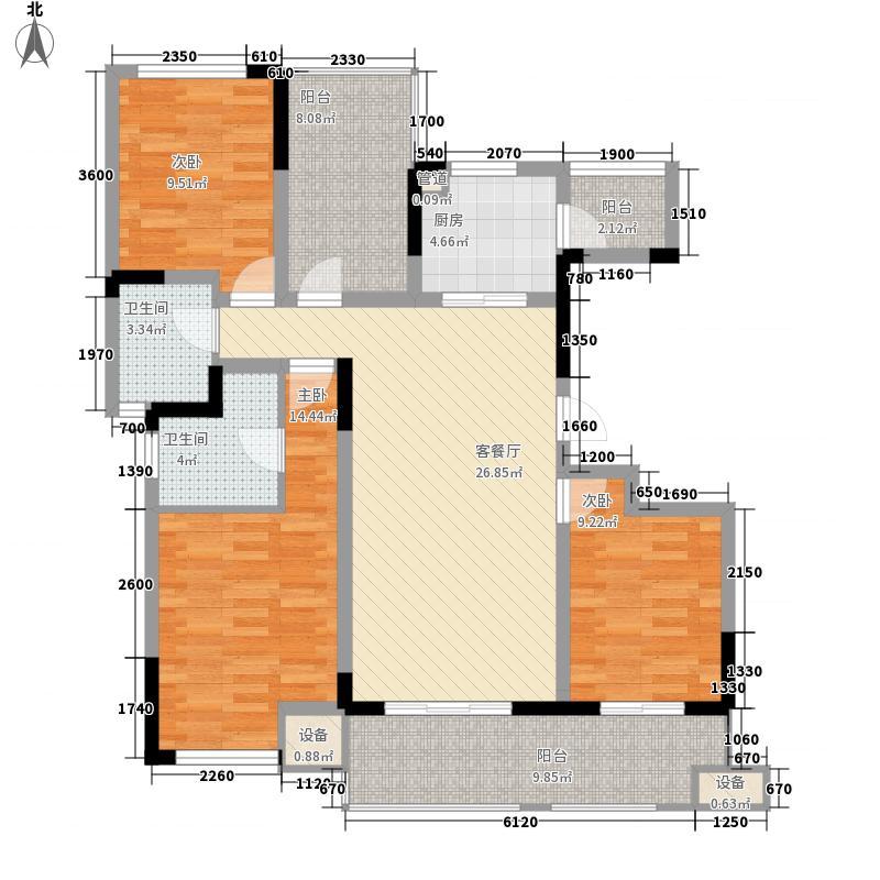 绿地波士顿公馆136.00㎡二期11号楼GC15户型3室2厅2卫1厨