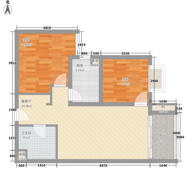 朝阳捷座83.89㎡F户型2室2厅1卫1厨