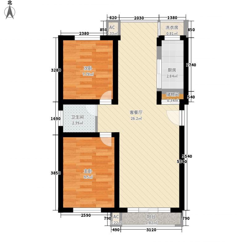 琥珀南村77.00㎡琥珀南村2室户型2室