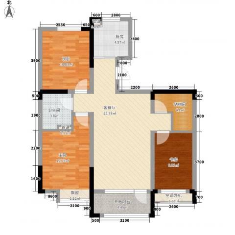 中天北湾新城3室1厅1卫1厨109.00㎡户型图