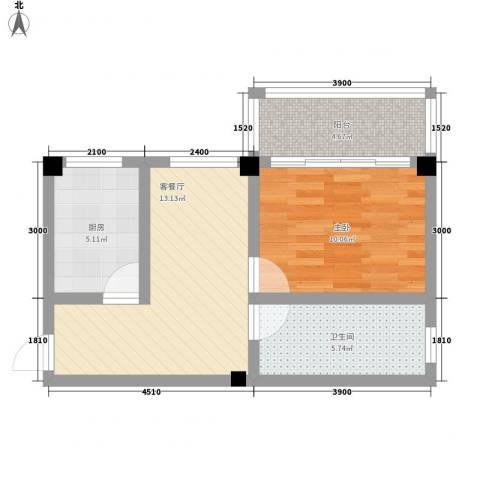 溪翠苑1室1厅1卫1厨58.00㎡户型图