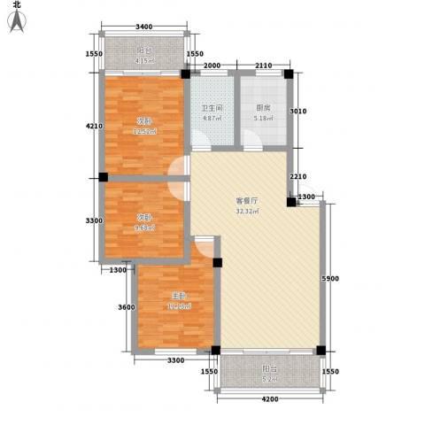 溪翠苑3室1厅1卫1厨123.00㎡户型图