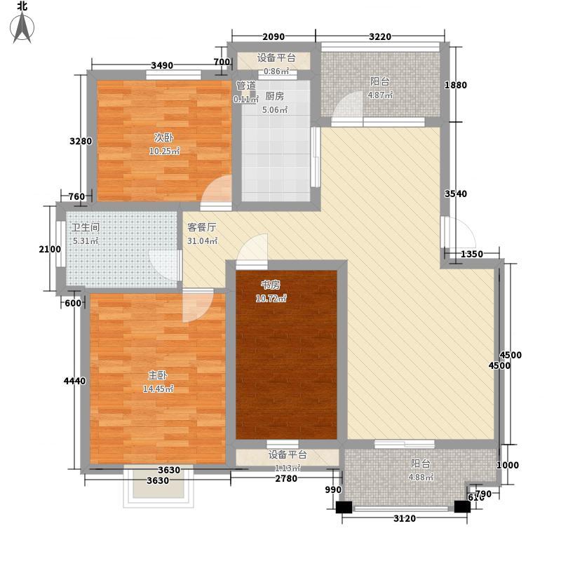 绿洲花园106.74㎡绿洲花园户型图四期30#AD3户型3室2厅1卫1厨户型3室2厅1卫1厨