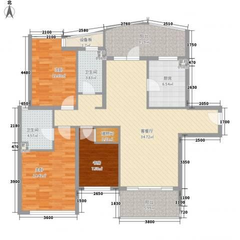 仁恒河滨城三期3室1厅2卫1厨144.00㎡户型图
