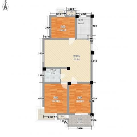 富都花苑3室1厅1卫1厨102.00㎡户型图
