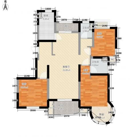大华锦绣华城公园新纪3室1厅2卫1厨126.00㎡户型图