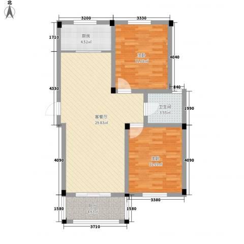 名城景园2室1厅1卫1厨95.00㎡户型图