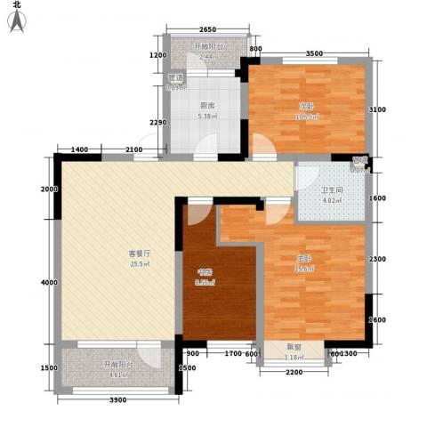 中天北湾新城3室1厅1卫1厨106.00㎡户型图