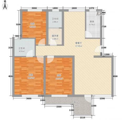 金边瑞香苑3室1厅2卫1厨138.00㎡户型图