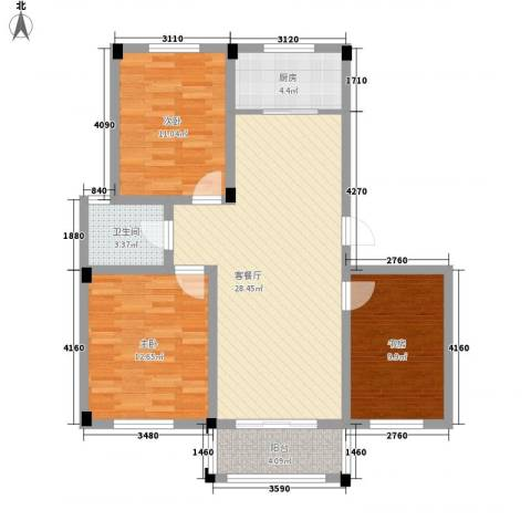 名城景园3室1厅1卫1厨106.00㎡户型图