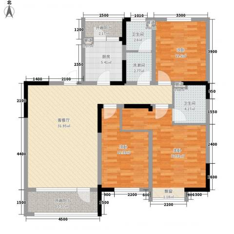 中天北湾新城3室1厅2卫1厨131.00㎡户型图