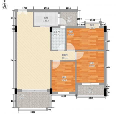 蜜糖苑3室1厅1卫1厨95.00㎡户型图